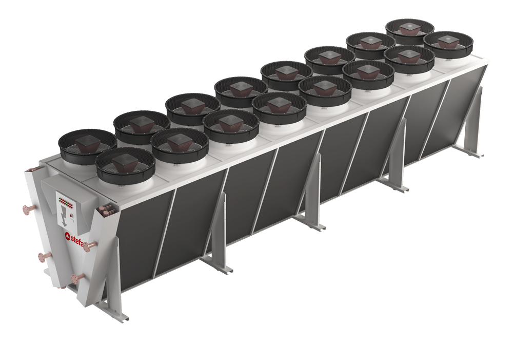 OSTRO, il dry-cooler a V doppia fila che incontra le esigenze di scambio di grandi potenze richieste dal processo industriale - STEFANI